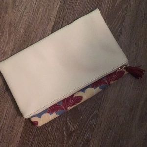 Rachel Pally, White and Floral Reversible Clutch